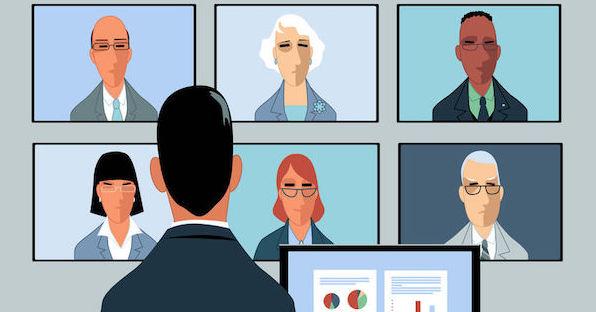 graphic of man staring at group call screens